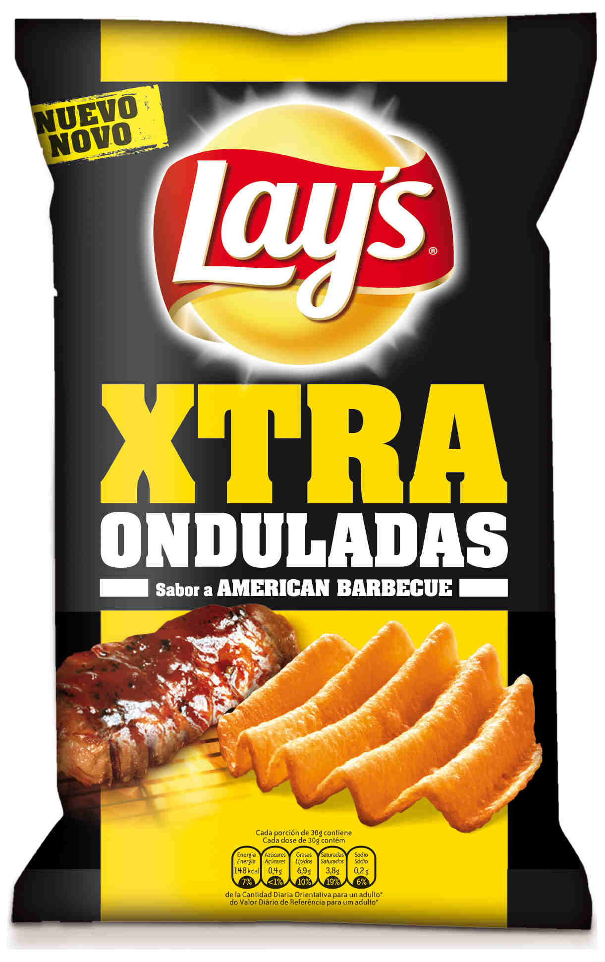 """Patatas fritas onduladas """"Lay's XTRA Onduladas"""" Sabor American Barbacue - Product"""