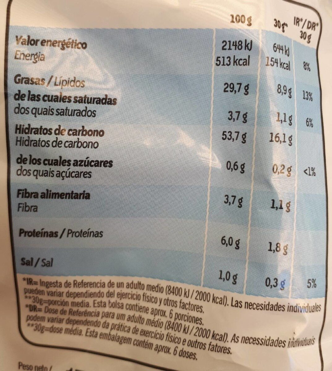 Ruffles - Nutrition facts - es
