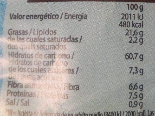Snacks ondulados de multicereales al toque de sal - Voedingswaarden - es