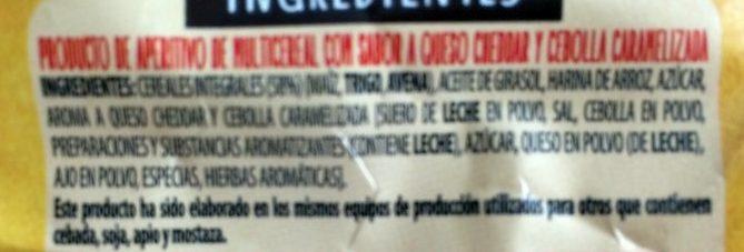 Snacks ondulados de multicereales con sabor a cheddar y cebolla caramelizada bolsa 95 g - Ingredientes