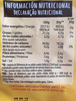 Snacks ondulados de multicereales con sabor a cheddar y cebolla caramelizada bolsa 95 g - Información nutricional