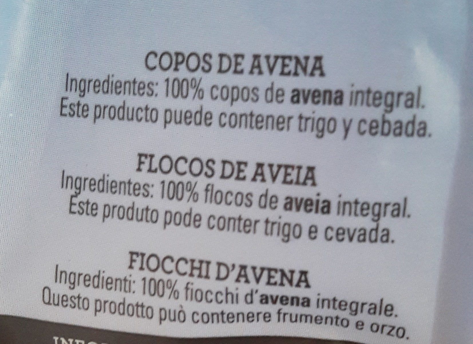 Quaker Avena 100% integral - Ingredientes - es
