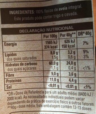 Quaker Avena 100% integral - Informação nutricional - es