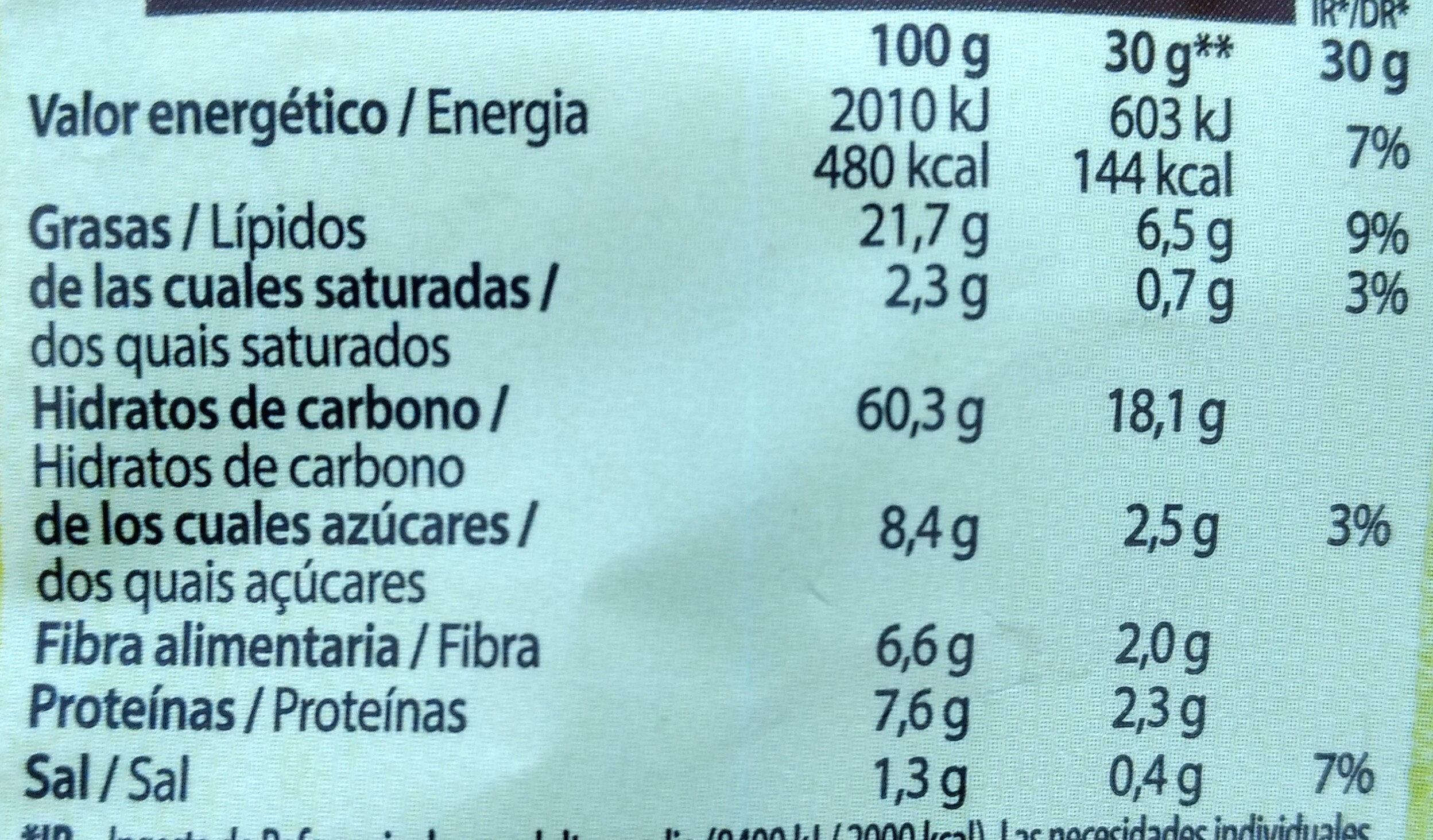 Snack ondulados de multicereales con sabor a Sour Cream bolsa 95 g - Informação nutricional - es