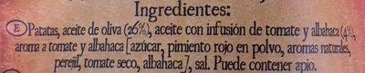 Patatas Fritas Mediterráneas Infusionado con Tomate y Albahaca - Ingredients