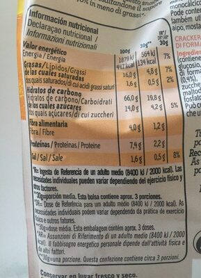 Crackers horno sabor queso emmental - Nutrition facts