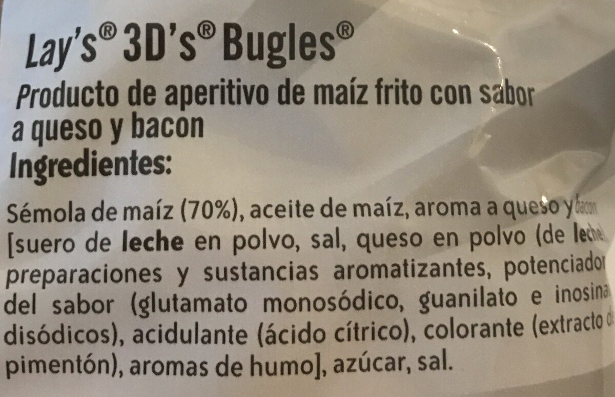 Bugles 3D's - Ingredients - es
