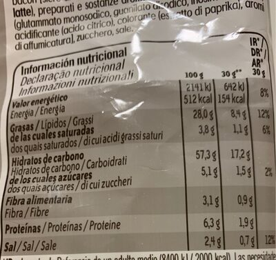 3D conos snack de maíz sabor original Sin Gluten bolsa 100 g - Información nutricional