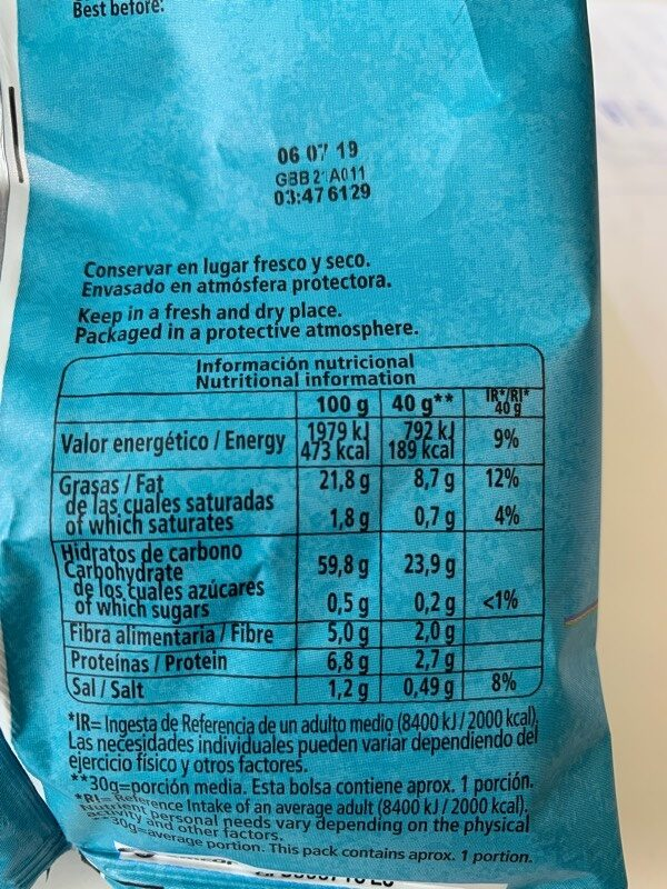 Potato crisps - Informations nutritionnelles - es