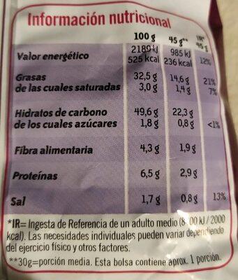 Patatas fritas sabor a jamón onduladas bolsa 45 g - Información nutricional