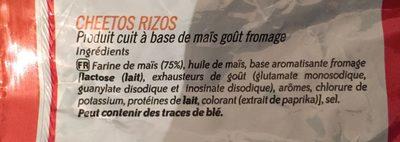 Rizos - Informació nutricional