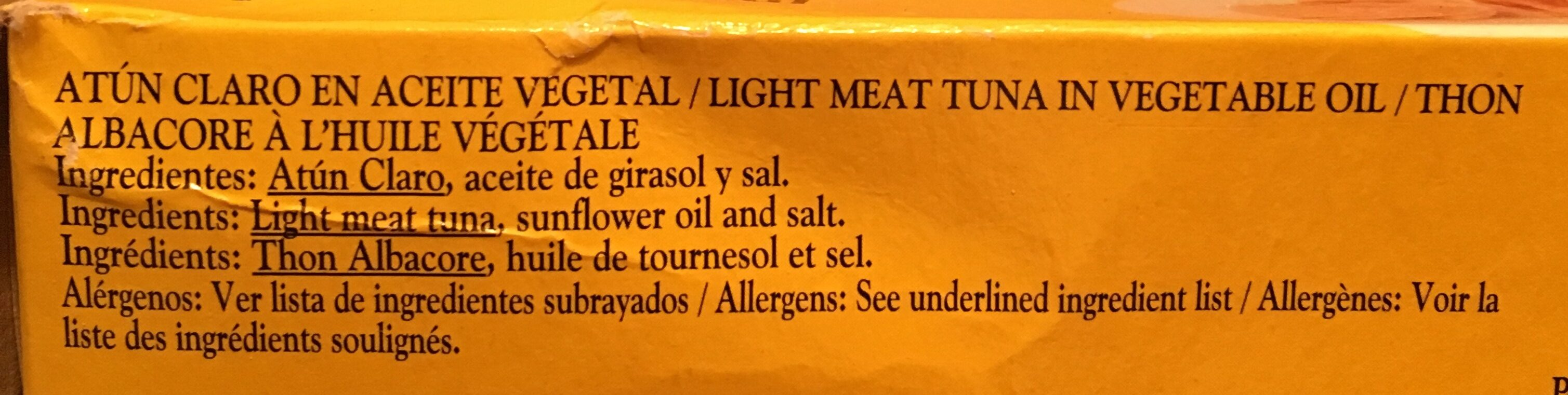 Atun Claro en Aceite Vegetal - Ingredients - es