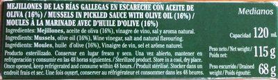 Mejillones de las rias gallegas con aceite de oliva - Ingredientes - es