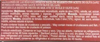 Mejillones de las Rías gallegas en salsa de marisco con aceite de oliva - Ingredients