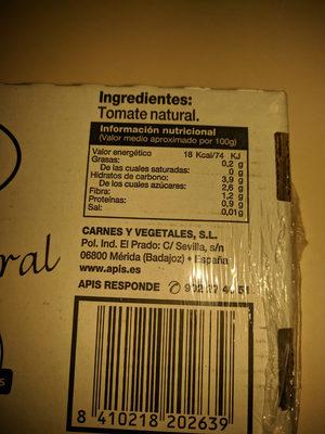 latass tomate mini apis - Información nutricional