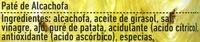 Paté vegetal de alcachofas - Ingrédients