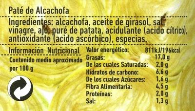 Paté vegetal de alcachofas - Información nutricional