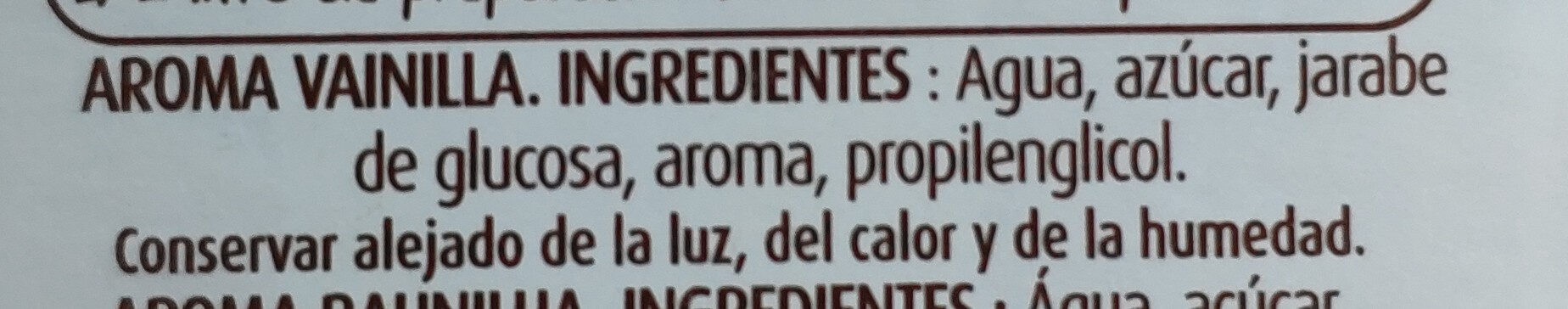Aroma de vainilla - Ingredients - es