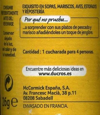 Jengibre molido - Información nutricional