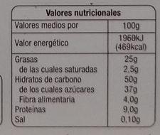 Figuritas de mazapan - Información nutricional