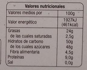 Mazapán de Soto - Información nutricional