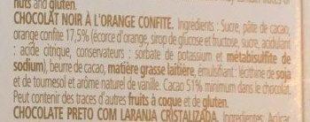 Chocolat noir à l'orange - Ingrédients - fr