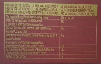 Pasteles yema - Información nutricional - fr