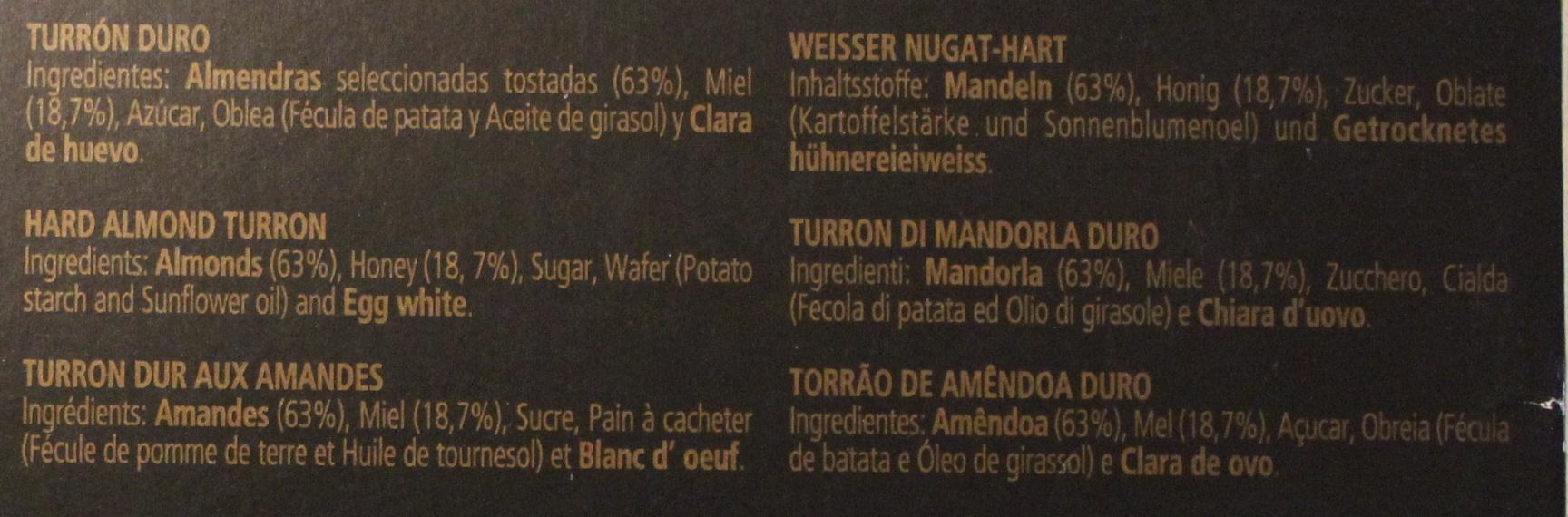 Turrón duro - Ingredientes