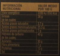 Turrón duro - Información nutricional