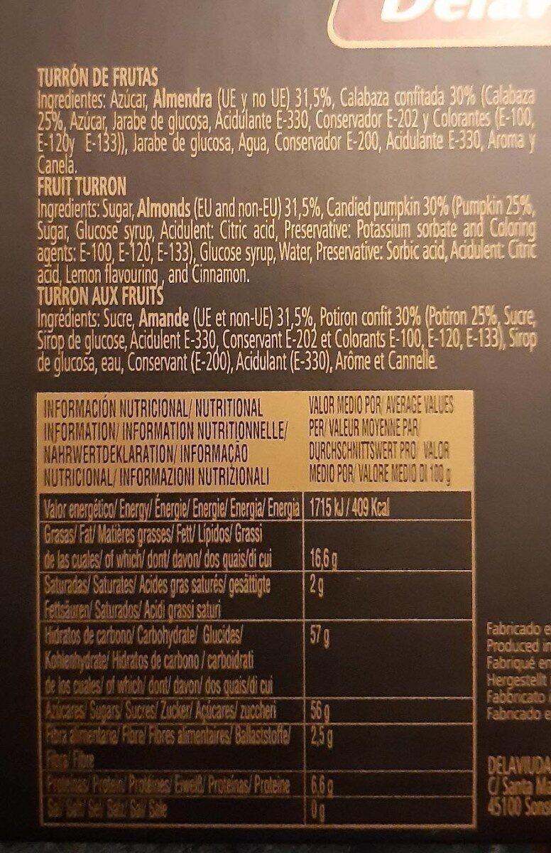 Turrón  frutas - Nutrition facts