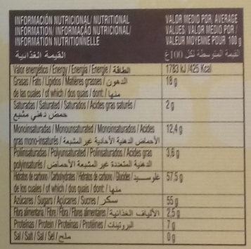 Turrón fruta - Informació nutricional