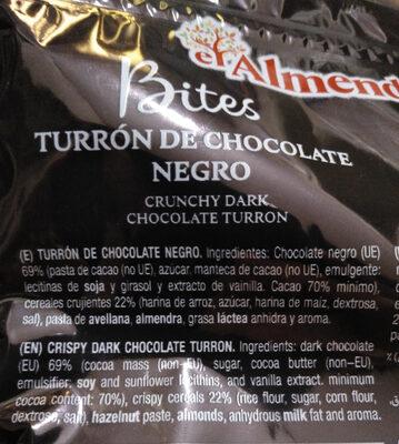 Turrón de chocolate negro - Inhaltsstoffe