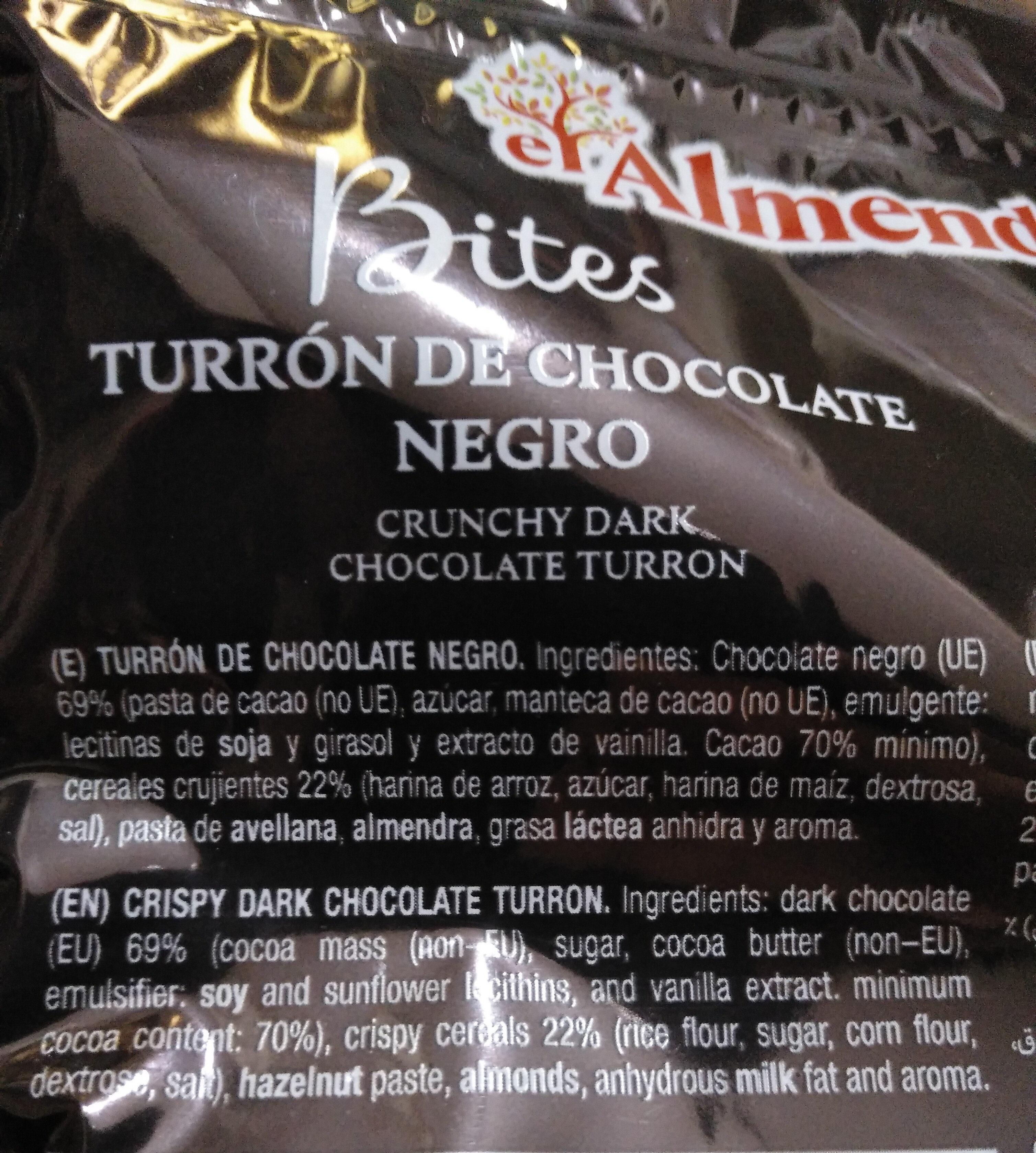 Turrón de chocolate negro - Inhaltsstoffe - es