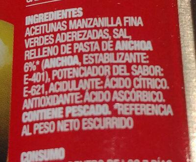 Aceitunas verdes rellenas anchoa - Ingrediënten