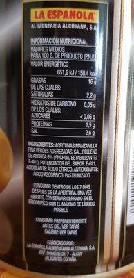 Deluxe aceitunas rellenas de anchoa lata 150 g - Ingredients - fr