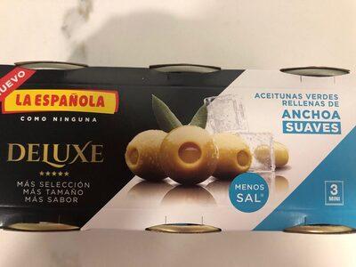 Deluxe aceitunas verdes rellenas de anchoa suaves con menos sal pack 3 latas 50 g - Product - es