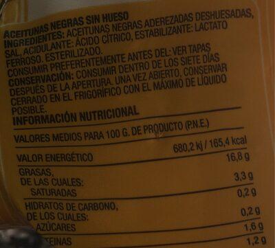 Aceitunas negras sin hueso - Nutrition facts - es