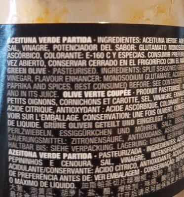 Aceitunas gazpacha verdes partidas con cebollitas,pepinillos,zanahorias,vinagre y pimentón envase 250 g - Ingrediënten - fr