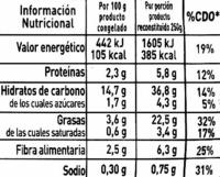 """Salteado de verduras congelado """"La Cocinera"""" Primavera - Nutrition facts"""