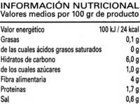 Alcachofa cuarteada - Información nutricional