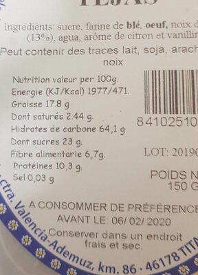 TEJAS - Información nutricional - fr