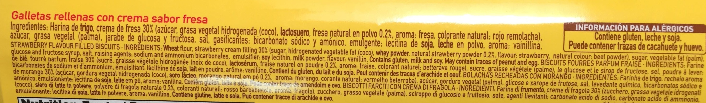 Galletas rellenas con crema sabor fresa - Ingredients