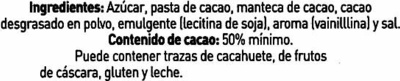 Tableta de chocolate negro 50% cacao - Ingredients