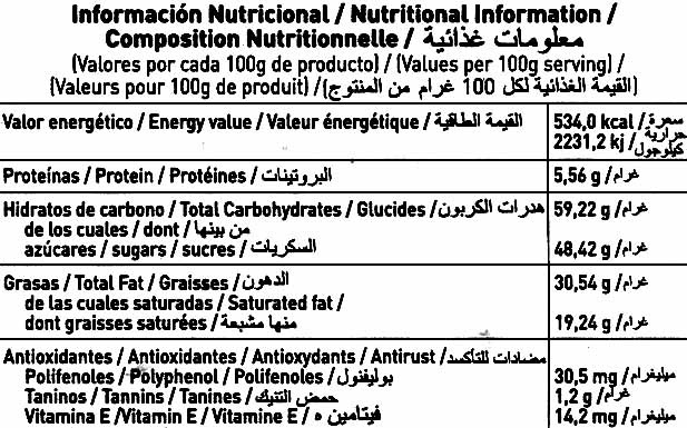 Tableta de chocolate negro 50% cacao - Nutrition facts