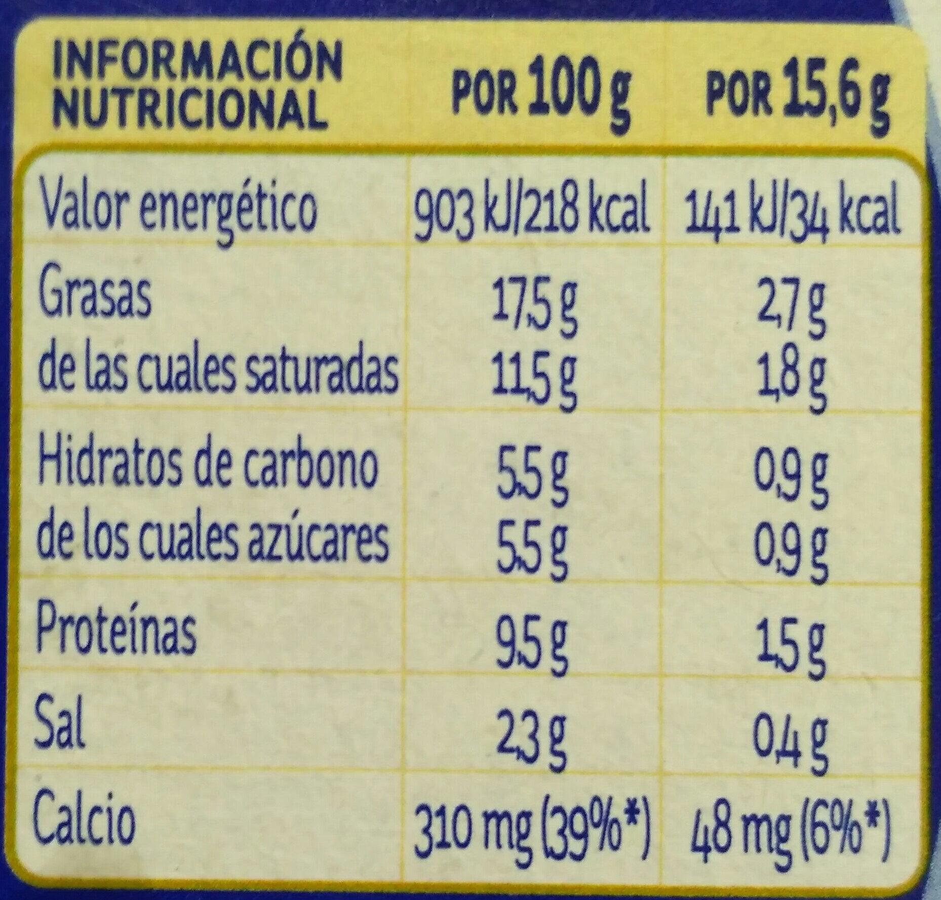 La vaca que ríe - Información nutricional - es