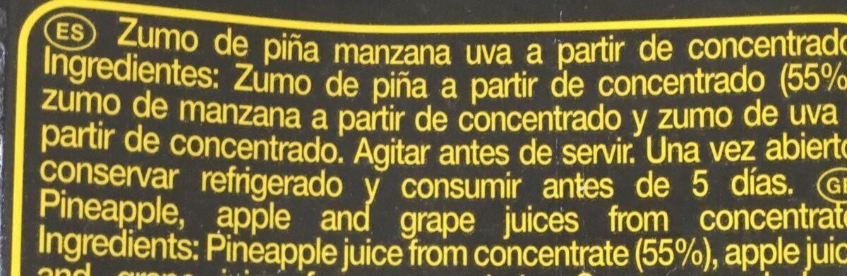 Zumo concentrado de piña y uva brik - Ingrédients - fr