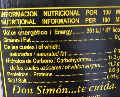 Zumo concentrado de piña y uva brik - Informations nutritionnelles - fr