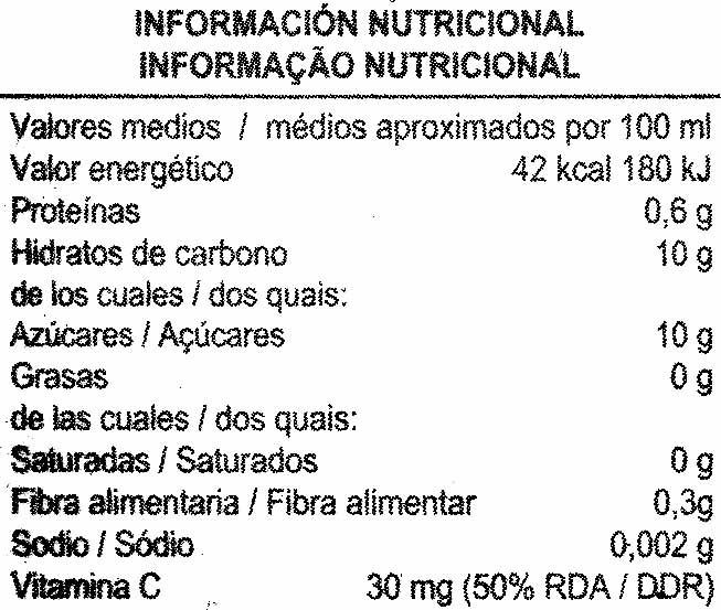 """Zumo de naranja exprimida refrigerado con pulpa """"Aliada"""" - Informations nutritionnelles"""