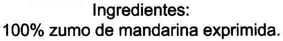 """Zumo de mandarina exprimido refrigerado """"Aliada"""" - Ingredientes"""