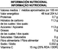 """Zumo de mandarina exprimido refrigerado """"Aliada"""" - Información nutricional"""